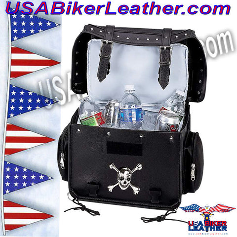 Diamond Plate Motorcycle Trunk Cooler Bag with Skull / SKU USA-LUMCOOL-BN