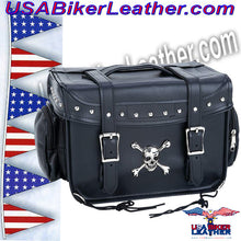 Diamond Plate Motorcycle Trunk Cooler Bag with Skull / SKU USA-LUMCOOL-BN - USA Biker Leather - 2