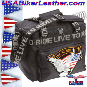 Live To Ride Motorcycle Cooler Bag / SKU USA-LUMCOOLTR-BN - USA Biker Leather