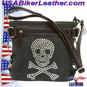 Fleur de Lune Handbag with Rhinestone Skull / SKU USA-LUPSKULL-BN - USA Biker Leather