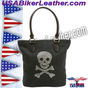 Fleur de Lune Handbag with Rhinestone Skull Design / SKU USA-LUPSKULL2-BN - USA Biker Leather