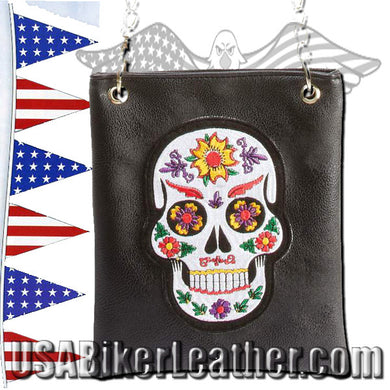 Casual Outfitters Ladies Sugar Skull Purse Handbag / SKU USA-LUPURSKL-BF - USA Biker Leather