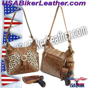 Casual Outfitters Western Style Concealed Carry Purse / SKU USA-LUPWCHL3-BN - USA Biker Leather