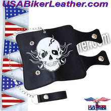 Casual Outfitters Solid Genuine Leather Double Strap Biker Trucker Wallet with Skull / SKU USA-LUWALBKSK-BN - USA Biker Leather - 1