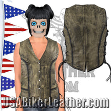 Ladies Longer Classic Distressed Brown Leather Vest with Side Laces / SKU USA-LV221-14-LONG-DL - USA Biker Leather - 1