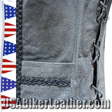 Ladies Blue Leather Vest with Side Laces and Braid Design / SKU USA-LV221-15-DL - USA Biker Leather - 2