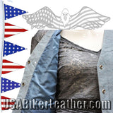 Ladies Blue Leather Vest with Side Laces and Braid Design / SKU USA-LV221-15-DL - USA Biker Leather - 3