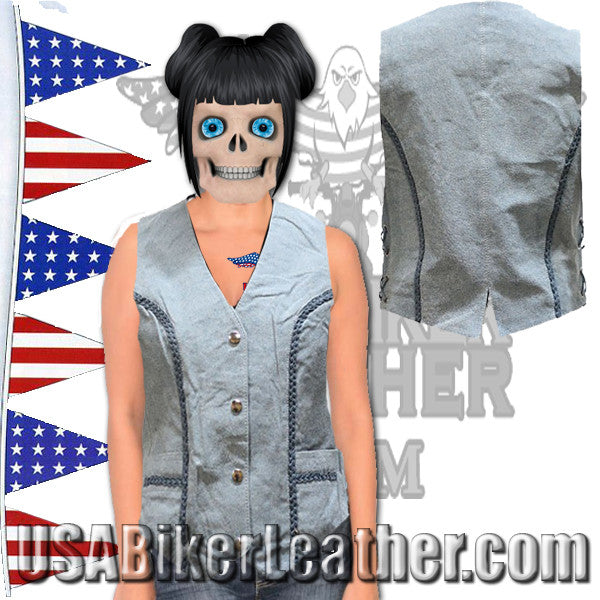 Ladies Blue Leather Vest with Side Laces and Braid Design / SKU USA-LV221-15-DL - USA Biker Leather - 1
