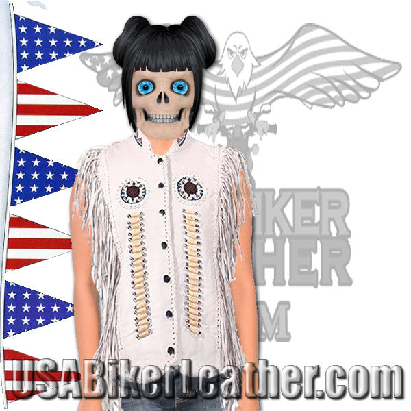 Ladies White Leather Western Style Beadwork and Bones Vest / SKU USA-LV426-DL - USA Biker Leather