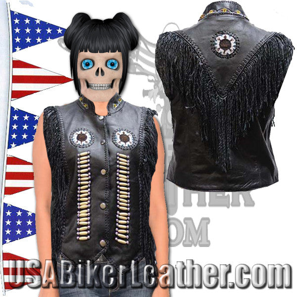 Ladies Black Leather Western Style Beadwork and Bones Vest / SKU USA-LV428-DL - USA Biker Leather