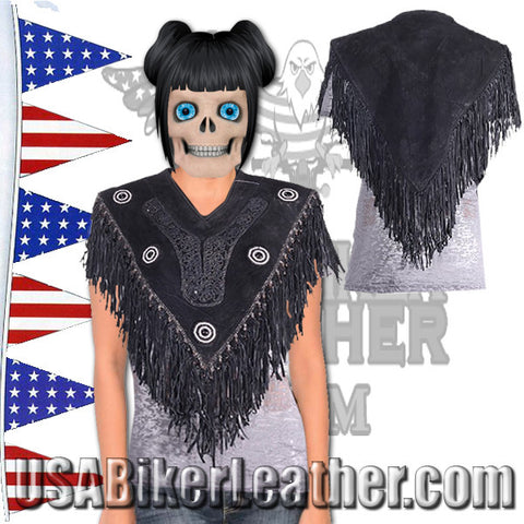 Womens Black Suede Leather Poncho with Beads and Fringe / SKU USA-LV5-DL