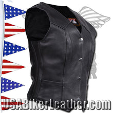 Ladies Plain Leather Vest with Pleated Front and Back / SKU USA-LV8502-DL - USA Biker Leather - 2