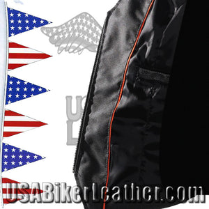Ladies Leather Motorcycle Zipper Vest with Concealed Carry Pockets / SKU USA-LV8507-DL - USA Biker Leather