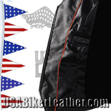 Ladies Leather Motorcycle Zipper Vest with Concealed Carry Pockets / SKU USA-LV8507-DL - USA Biker Leather - 2