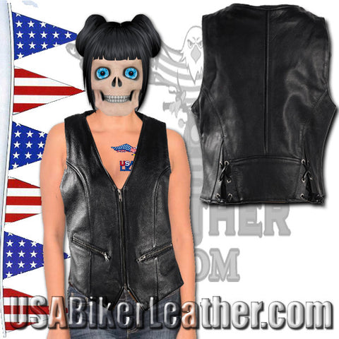 Ladies Leather Motorcycle Zipper Vest with Concealed Carry Pockets / SKU USA-LV8507-DL