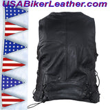 Ladies Leather Vest with Side Laces and Concealed Carry Pocket / SKU USA-LV8509-DL - USA Biker Leather - 3