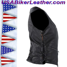 Ladies Leather Vest with Side Laces and Concealed Carry Pocket / SKU USA-LV8509-DL - USA Biker Leather