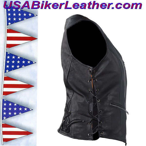 Ladies Leather Vest with Side Laces and Concealed Carry Pocket / SKU USA-LV8509-DL - USA Biker Leather - 2