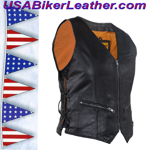 Ladies Leather Vest with Side Laces and Concealed Carry Pocket / SKU USA-LV8509-DL