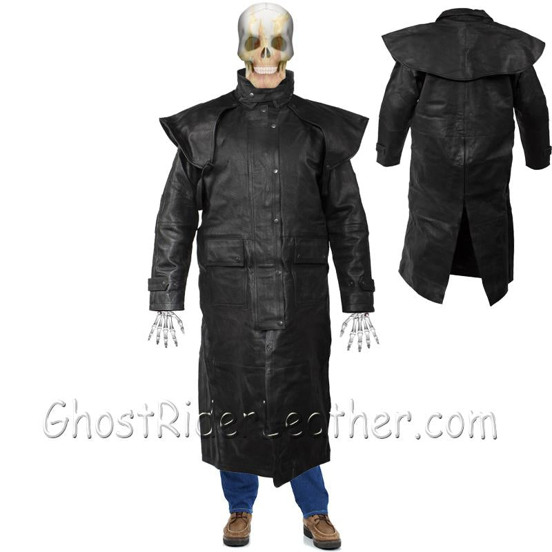 Mens Black Premium Cowhide Leather Duster Coat - SKU GRL-MJ600-11-DL - USA Biker Leather