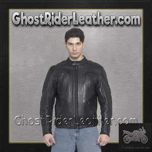 Mens Motorcycle Racer Jacket with Adjustable Side Straps / SKU GRL-MJ720-DL