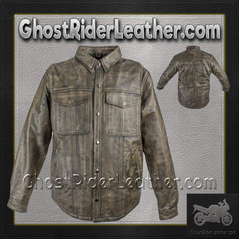 Mens Distressed Brown Leather Shirt with Concealed Carry Pockets / SKU GRL-MJ777-12L-DL