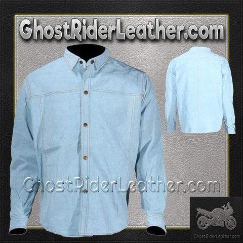 Mens Blue Leather Shirt with Snap Closure / SKU GRL-MJ777-15-DL