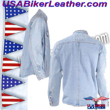 Mens Blue Denim Shirt with Snap Pockets / SKU USA-MJ777-DENIM-DL - USA Biker Leather - 3