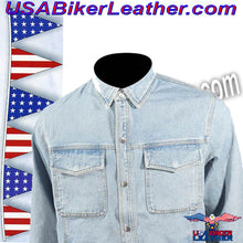 Mens Blue Denim Shirt with Snap Pockets / SKU USA-MJ777-DENIM-DL - USA Biker Leather - 4