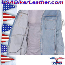 Mens Blue Denim Shirt with Snap Pockets / SKU USA-MJ777-DENIM-DL - USA Biker Leather - 2