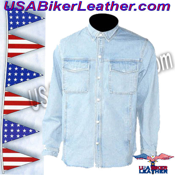 Mens Blue Denim Shirt with Snap Pockets / SKU USA-MJ777-DENIM-DL - USA Biker Leather