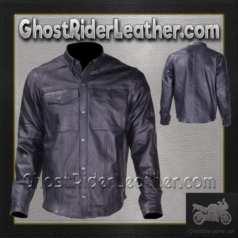 Mens Leather Shirt with Snap Closure / SKU GRL-MJ777-SS-DL - USA Biker Leather