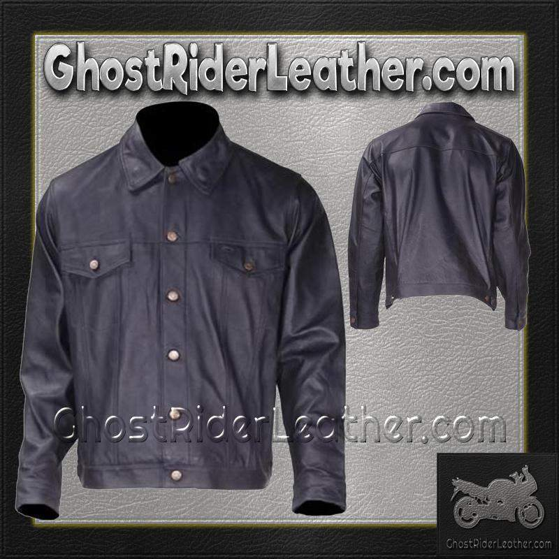 Mens Leather Shirt with Button Closure / SKU GRL-MJ778-DL