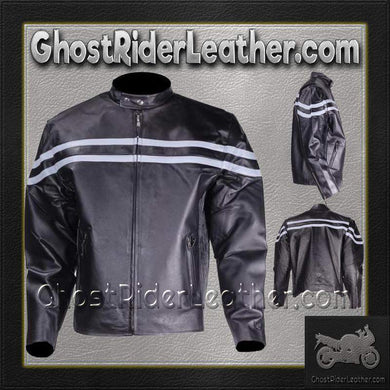 Mens Motorcycle Racer Jacket with Silver Stripe / SKU GRL-MJ779-SIL-DL