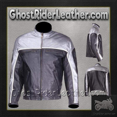 Mens Motorcycle Racer Leather Jacket  in Silver and Black / SKU GRL-MJ780-SLV-DL