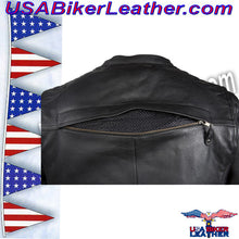 Mens Motorcycle Jacket with Cool Diamond Pattern / SKU USA-MJ821-DL - USA Biker Leather - 3