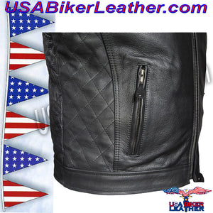 Mens Motorcycle Jacket with Cool Diamond Pattern / SKU USA-MJ821-DL - USA Biker Leather - 4