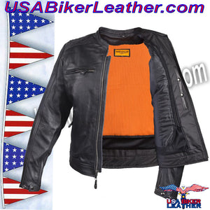 Mens Motorcycle Jacket with Cool Diamond Pattern / SKU USA-MJ821-DL - USA Biker Leather - 2