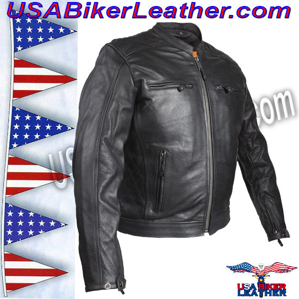 Mens Motorcycle Jacket with Cool Diamond Pattern / SKU USA-MJ821-DL - USA Biker Leather - 1