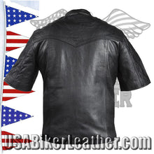 Mens Light Weight Leather Shirt with Short Sleeves / SKU USA-MJ822-11L-DL - USA Biker Leather - 2