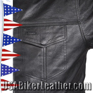 Mens Light Weight Leather Shirt with Short Sleeves / SKU USA-MJ822-11L-DL - USA Biker Leather - 3