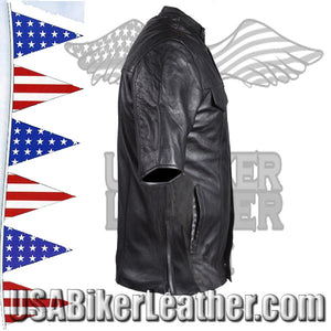 Mens Light Weight Leather Shirt with Short Sleeves / SKU USA-MJ822-11L-DL - USA Biker Leather - 4