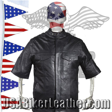Mens Light Weight Leather Shirt with Short Sleeves / SKU USA-MJ822-11L-DL - USA Biker Leather - 1