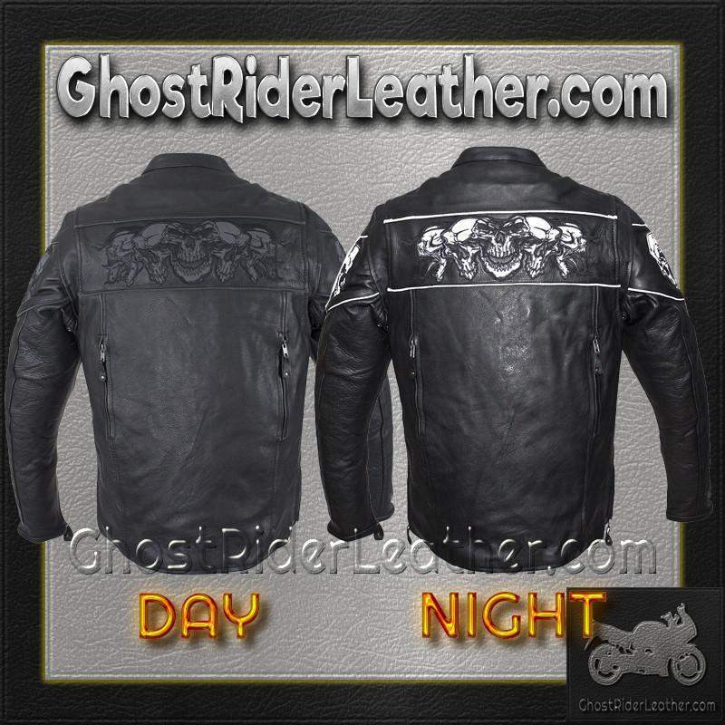 Racer Leather Jacket with Reflective Skulls and Concealed Carry Pocket / SKU GRL-MJ825-DL