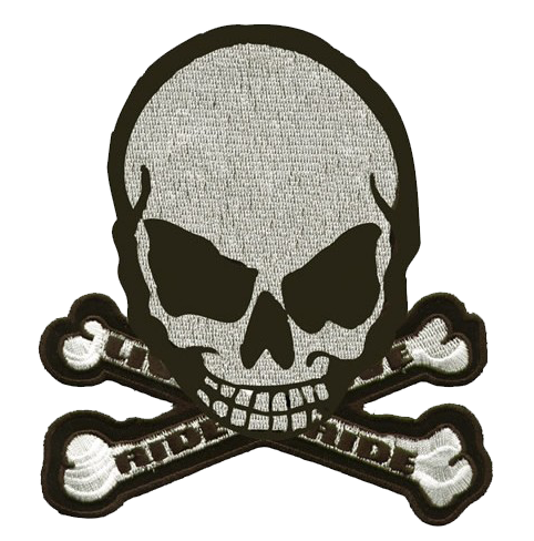 Gray Monster Skull Crossbones Patch / SKU USA-MK4-DL - USA Biker Leather