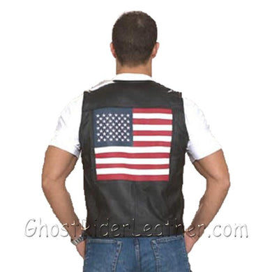 Mens Leather USA - American Flag Motorcycle Vest - SKU USA-MV2750-DL