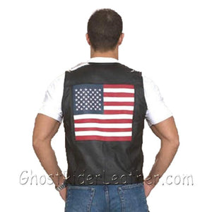 Mens Leather USA - American Flag Motorcycle Vest - SKU USA-MV2750-DL - USA Biker Leather