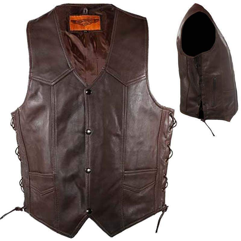 Mens 10 Pocket Brown Leather Vest With Side Laces / SKU GRL-MV310-BRN-11-DL - USA Biker Leather