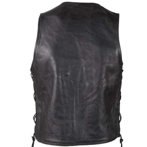 Mens Plain Zipper Front Premium Leather Vest With Side Laces / SKU GRL-MV310-ZIP-11-DL - USA Biker Leather