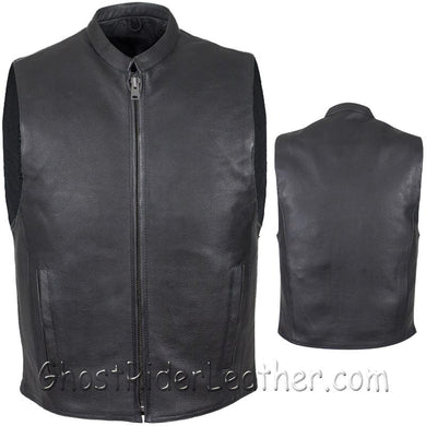 Mens Leather Motorcycle Club Vest with Zipper Front / SKU GRL-MV8001-DL